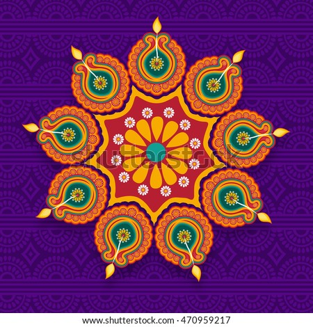 Beautiful Floral Rangoli with Illuminated Oil Lit Lamps (Diya), Traditional holiday background, Elegant Greeting Card design for Indian Festival of Lights, Happy Diwali celebration.