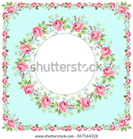 Beautiful floral round Greeting card with littlel pink roses