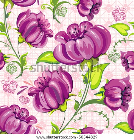 Beautiful floral seamless pattern on white background, vector illustration texture