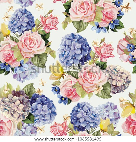 Beautiful floral seamless pattern with hydrangea and rose flowers