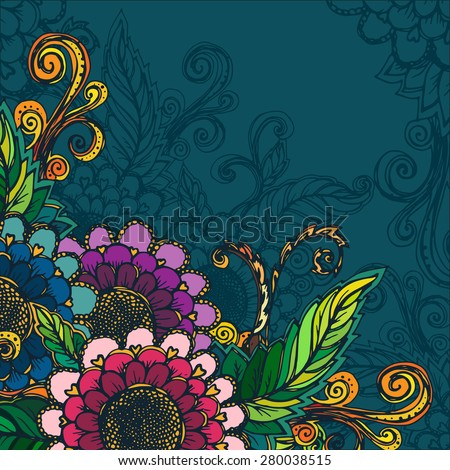 beautiful floral template with