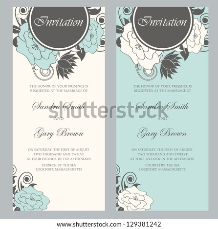 Beautiful floral wedding invitations. Vector illustration