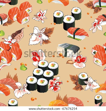 Beautiful flower Japan Seamless Pattern, vector illustration sushi texture