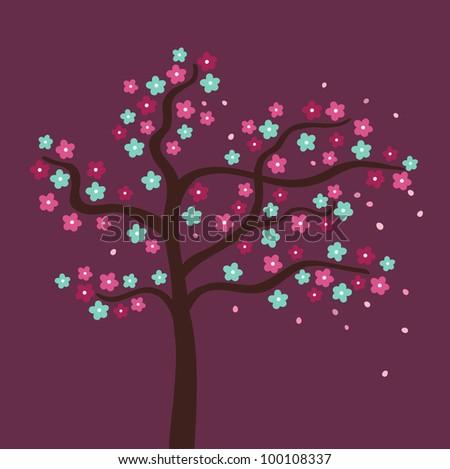 Beautiful flower tree. Vector illustration