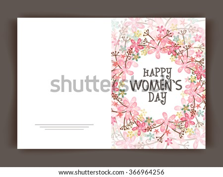 Shutterstock Beautiful flowers decorated greeting card design for Happy Women's Day celebration.