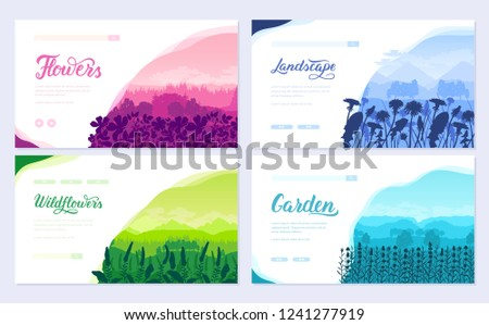 Beautiful flowers on the mountainside vector brochure cards set. Summer nature template of flyear, magazines, poster, books, banners. Flora on hill invitation concept. Layout
