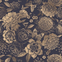 Beautiful flowers peonies, roses and butterflies. Black and gold foil print. Nature template. Summer background. Vintage. Vector illustration. Luxurious seamless pattern for paper, wallpaper, textile.