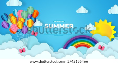 Beautiful fluffy clouds on blue sky background with summer sun, ballon, butterfly pink, hot air balloons and rainbow. Vector illustration. Paper cut style. Place for text