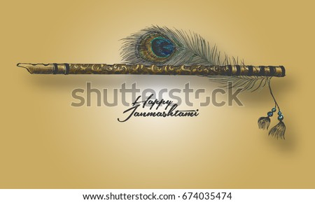 beautiful flute with peacock