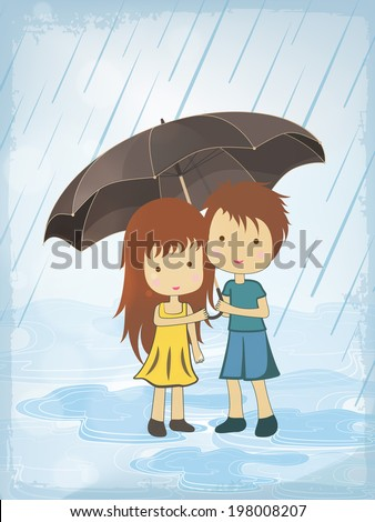Beautiful flyer or template design with cute little kids standing under the umbrella in rainy day.