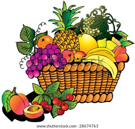 Beautiful fruits with basket  Salubrious food Fruits Basket Clipart