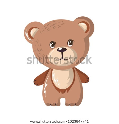 Shutterstock Beautiful funny cartoon bear. Cute, fluffy, omnivorous bear, family of mammals, squad of predatory animals. It is widespread and lives in North America, northern Europe and Asia. Vector illustration.