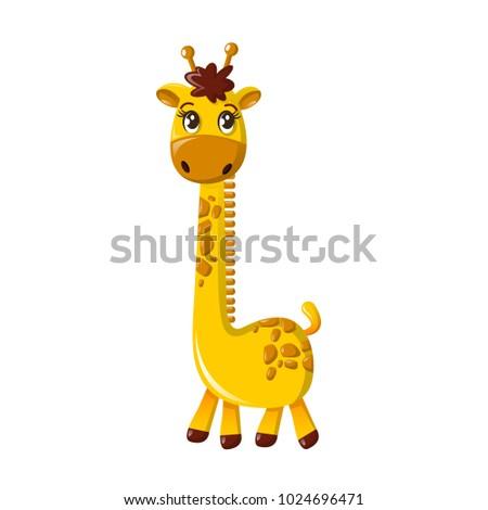 Beautiful funny cartoon tall giraffe. Large giraffe with long necked. Cloven-hoofed mammals from the giraffe family. Inhabits in savanna of Africa. An animal from wild. Vector illustration.