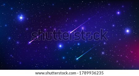 Beautiful galaxy background with nebula cosmos and comets. Stardust and bright shining stars in universal. Vector illustration.