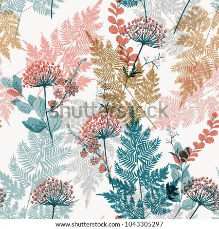 Beautiful garden leaves and meadow flower on seamless pattern vector stylish on white background.
