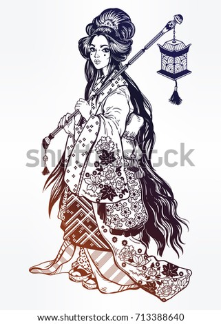beautiful geisha in ornate