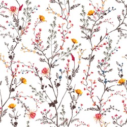 Beautiful gentle botanical flowers blooming garden mood Seamless pattern in vector EPS10 ,Design for fashion, fabric,textile,wrapping ,wallpapers and all prints on white