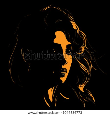 beautiful girl face silhouette