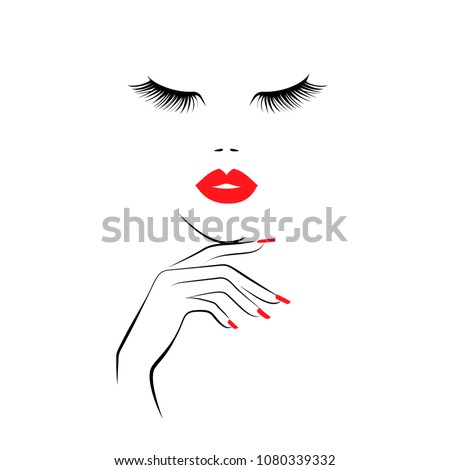 Beautiful girl face with red lips, lush eyelashes, hand with red manicure nails. Beauty Logo. Vector illustration
