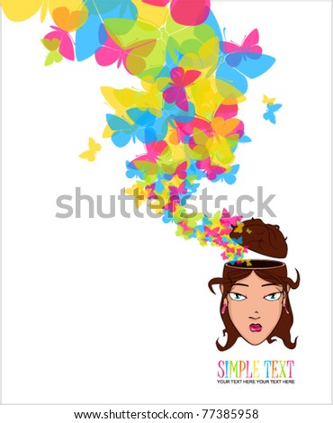 Beautiful girl head with butterflies. Vector illustration.