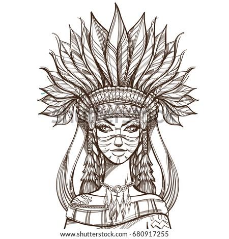 beautiful girl in a headdress