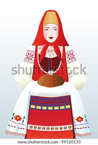 beautiful girl in a russian