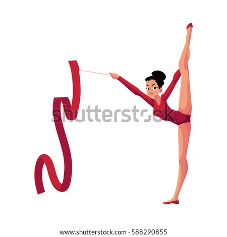 Beautiful girl in leotard standing in vertical leg split, rhythmic gymnastics with ribbon, cartoon vector illustration isolated on white background. Rhythmic gymnast exercising with ribbon