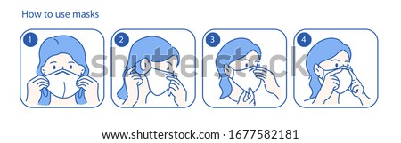 Beautiful girl is recommended how to wear a mask. Virus protection concept idea. Hand drawn in thin line style, vector illustrations.
