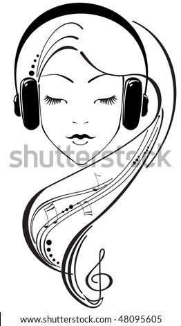 beautiful girl listening to