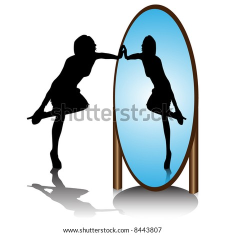 cartoon girl looking in mirror
