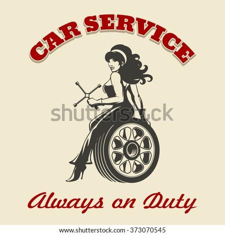 beautiful girl mechanic sitting ...