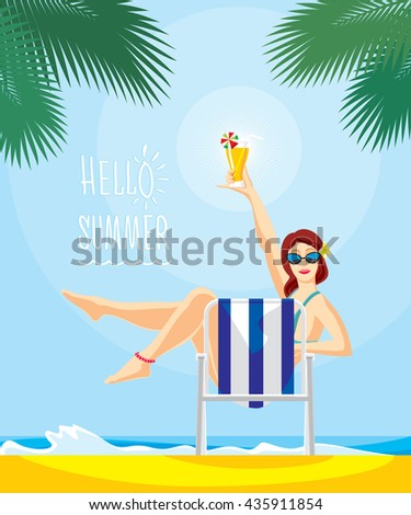beautiful girl on beach chair