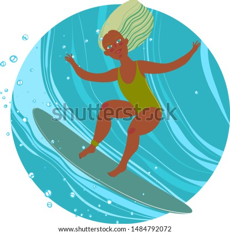 beautiful girl rides a surf