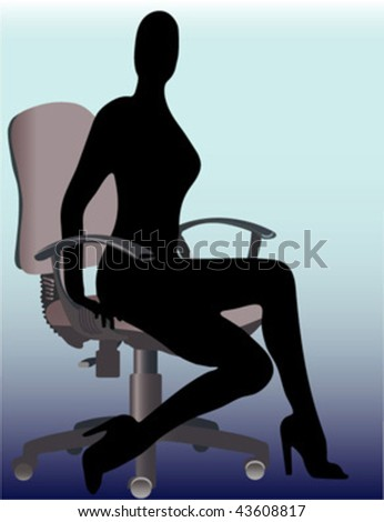 beautiful girl sit in office chair