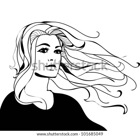 Flowing+hair+vector