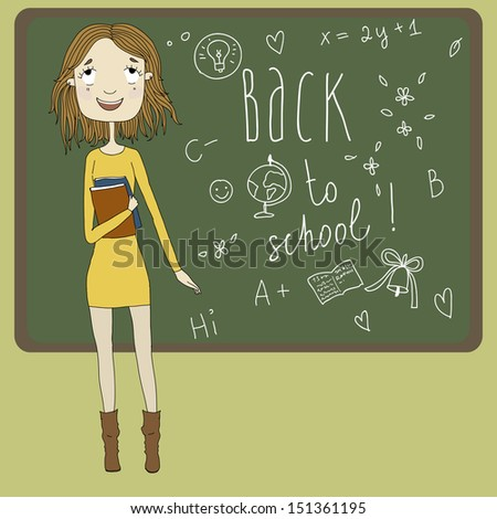 Beautiful girl with books in hand on the background of scribbled boards. Back to school, vector Eps10 illustration.