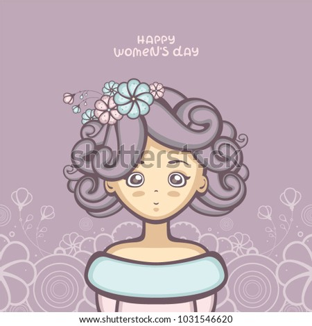 Beautiful Girl With Flowers In Light Curly Hair Fashion Vector