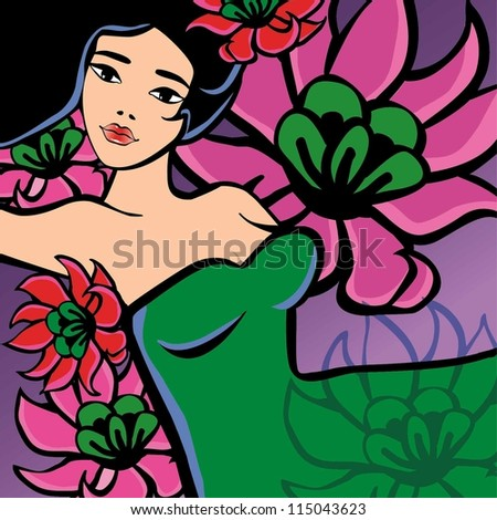 Beautiful girl with flowers. Vector Illustration