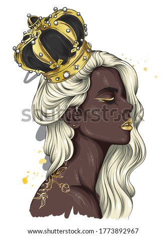 Beautiful girl with long hair in a crown with precious stones. Big eyes and full lips. Vector illustration for greeting card or poster, print on clothes. Black woman. Fashion and style, accessories.