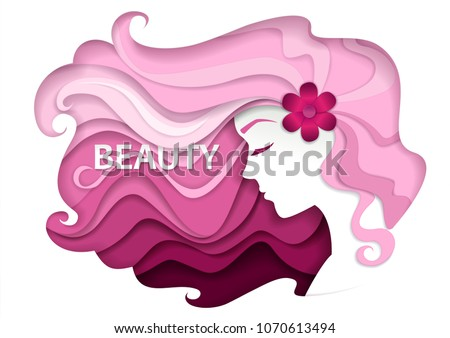 Beautiful girl with long wavy hair. Vector illustration in modern paper art style. Beauty and hair salon logo, business card design template.