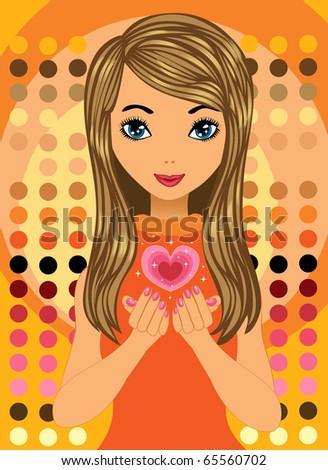 Love Heart Girl. girl with love heart