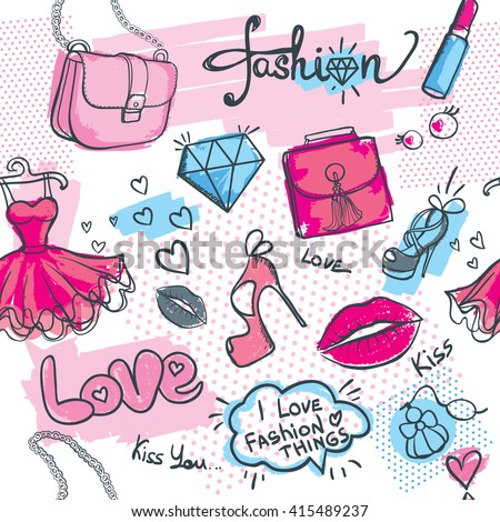 Beautiful girlish pattern with dress, lips, shoes, lipstick, diamonds, hearts and other fashion elements. Creative seamless background for girls. Wallpaper for fashionable women. Tender colors. - Shutterstock ID 415489237