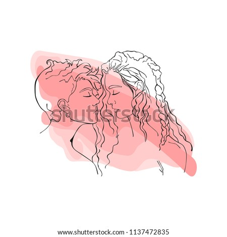 Beautiful girls. Lesbians. Love. Isolated vector object on white background.