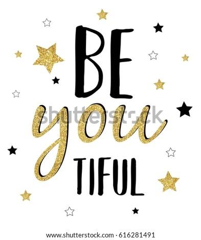 beautiful glitter slogan vector