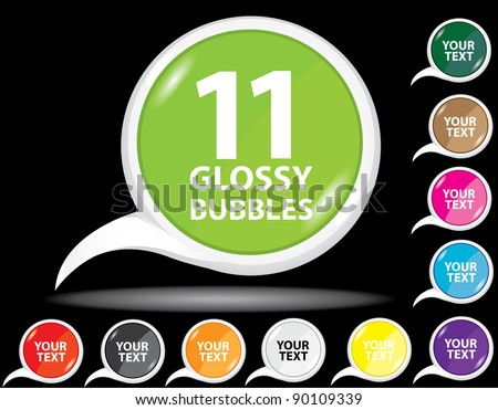 Beautiful glossy color bubble speech and label collection. Vector illustration.