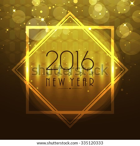 Beautiful glossy greeting card design for Happy New Year 2016 celebration.