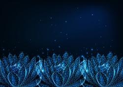 Beautiful glowing low polygonal waterlily, lotus flower boder on dark blue background. Ayurveda, spiritual yoga symbol. Futuristic wireframe design vector illustration.