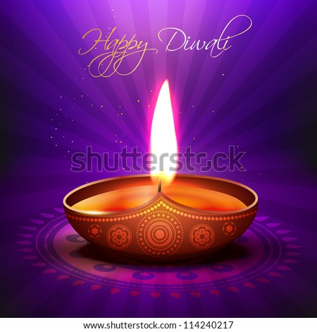 beautiful glowing vector diwali diya background