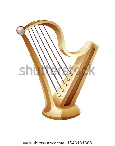 Beautiful golden harp with five strings. A classic musical string instrument, as well as a symbol of celebrations of traditional events. Vector illustration isolated.