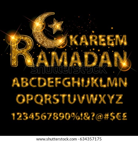 Beautiful Golden letters and figures of the English alphabet in Arabic style. Vector illustration. On a black background.